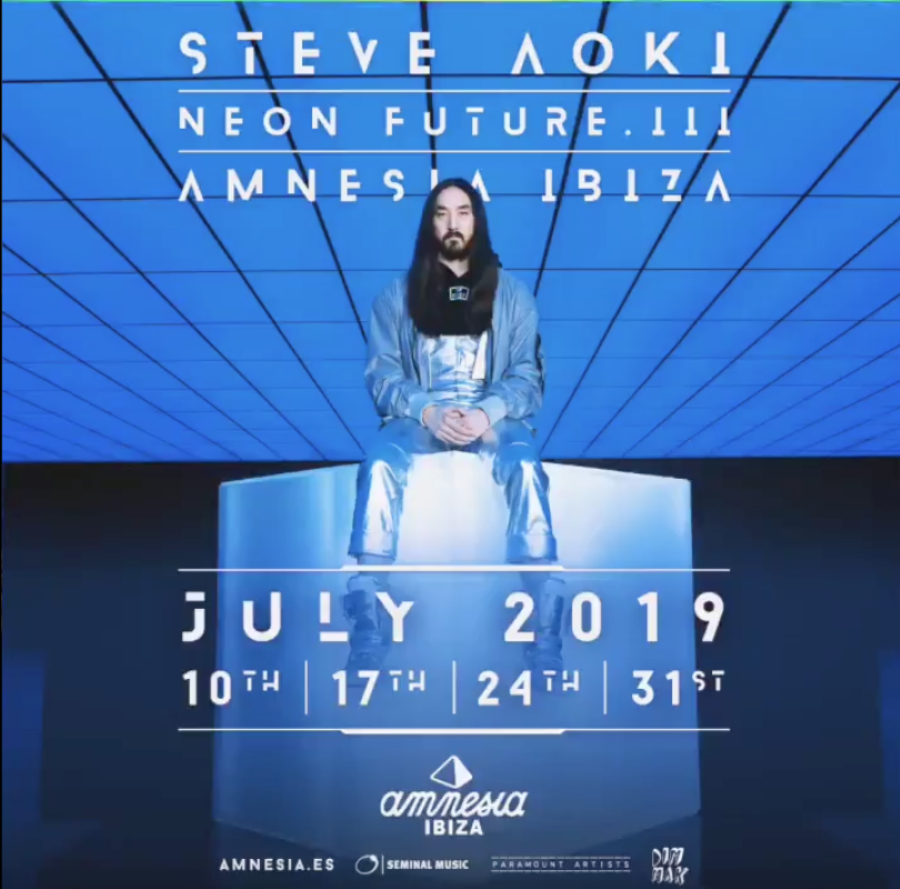 Steve Aoki has revealed his Amnesia Ibiza Line ups