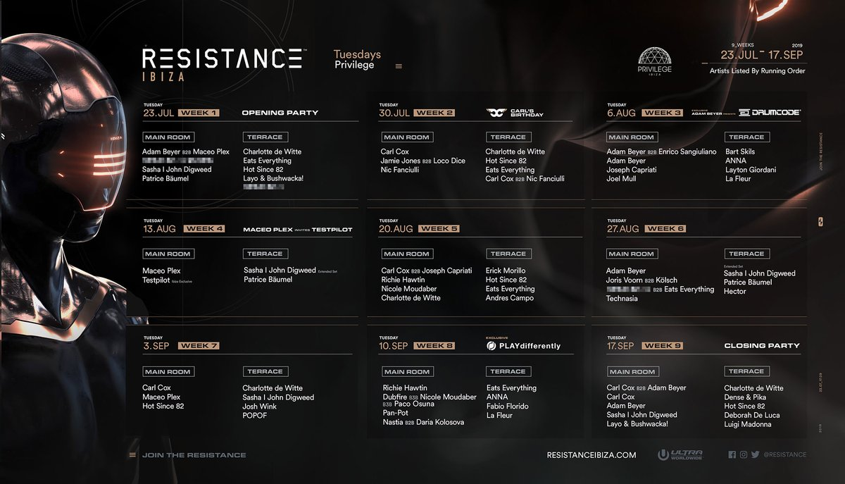 Resistance Privilege Ibiza 2019 Weekly Line Ups click for large version