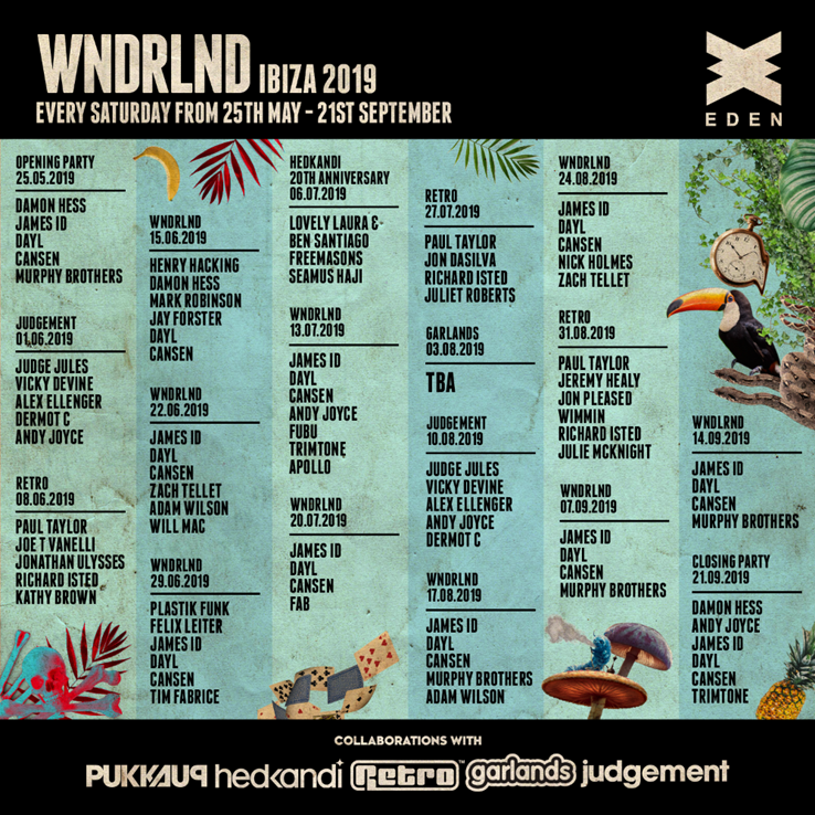 Pukka Up WNDRLND Eden 2019 weekly line ups
