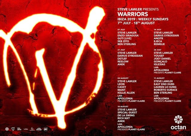 Steve Lawler's Warriors Octan Ibiza Line Up 2019