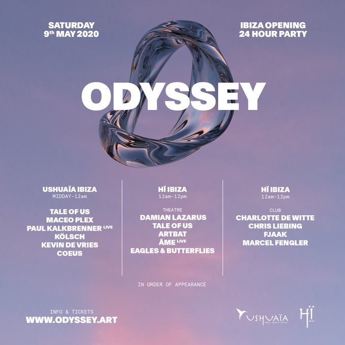 Ushuaïa Ibiza Opening Party - Odyssey line up 2020